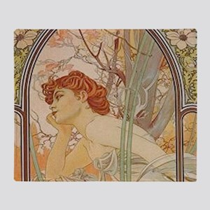 Mucha - Art Nouveau In The Garden Throw Blanket
