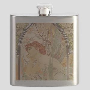 Mucha - Art Nouveau In The Garden Flask