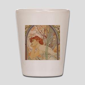 Mucha - Art Nouveau In The Garden Shot Glass