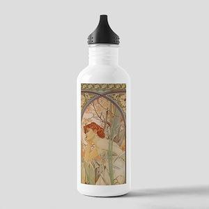 Mucha - Art Nouveau In The Garden Water Bottle