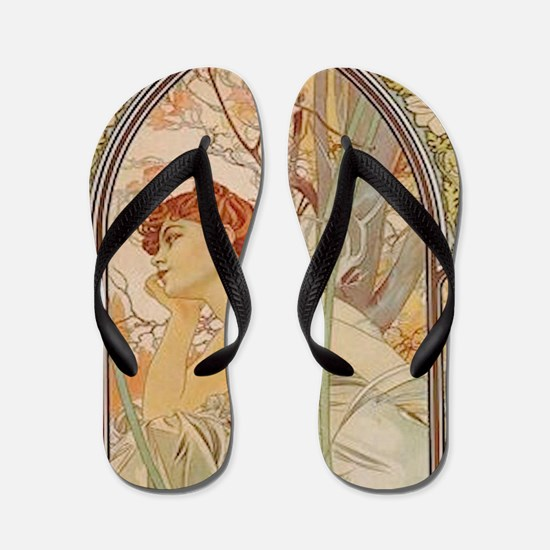 Mucha - Art Nouveau In The Garden Flip Flops