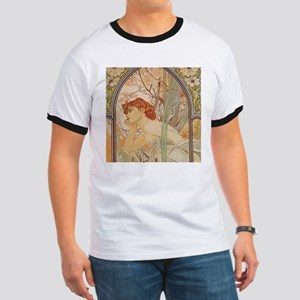Mucha - Art Nouveau In The Garden T-Shirt