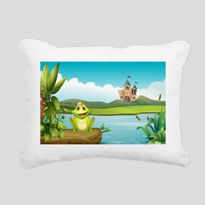 A frog with a crown at t Rectangular Canvas Pillow