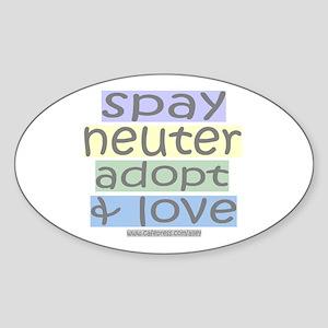 Spay/Neuter/Adopt/Love Oval Sticker