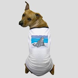 Cute Grey Walrus in Snow Dog T-Shirt