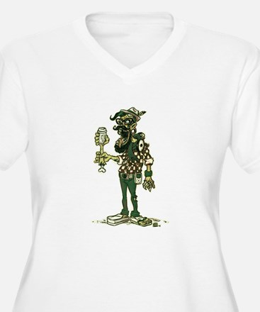 Hipster Zombie Women's V-Neck Plus Size T-Shirt