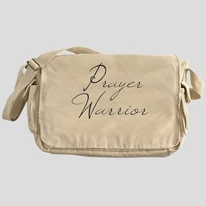 Prayer Warrior in black typography Messenger Bag