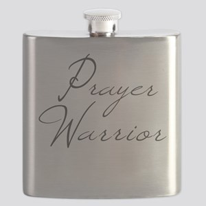 Prayer Warrior in black typography Flask