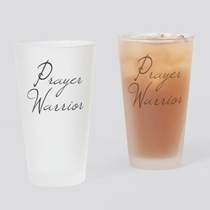 Prayer Warrior in black typography Drinking Glass