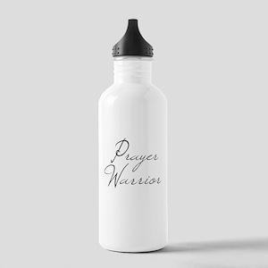 Prayer Warrior in black typography Water Bottle