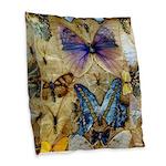 Antique Butterfly Enhanced Burlap Throw Pillow