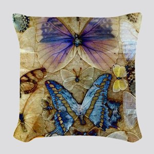 Antique Butterfly Enhanced Woven Throw Pillow