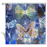 Antique Butterfly Blueprint Shower Curtain