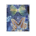 Antique Butterfly Blueprint Throw Blanket