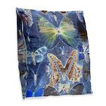 Antique Butterfly Blueprint Burlap Throw Pillow