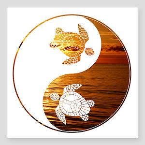 "YN Turtle-02 Square Car Magnet 3"" x 3"""