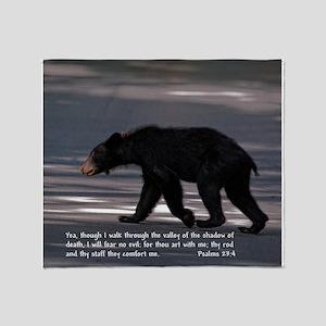 Shadow of Death Bear - Psalms 23:4 Throw Blanket