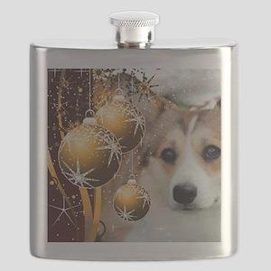 Sable Holiday Corgi Flask
