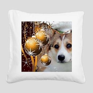Sable Holiday Corgi Square Canvas Pillow
