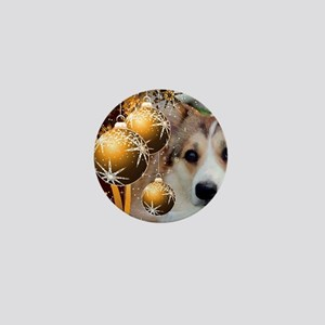 Sable Holiday Corgi Mini Button