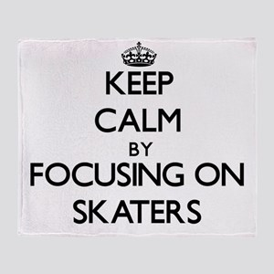 Keep Calm by focusing on Skaters Throw Blanket