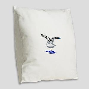 Seagull Liftoff Burlap Throw Pillow
