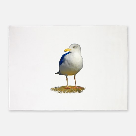 Sea Gull Has His Eye on You 5'x7'Area Rug