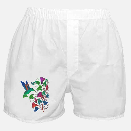 Rainbow Hummingbird on Trumpet Vine Boxer Shorts