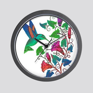 Rainbow Hummingbird on Trumpet Vine Wall Clock