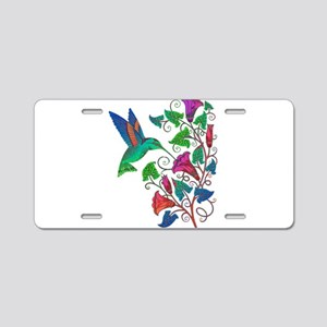 Rainbow Hummingbird on Trum Aluminum License Plate