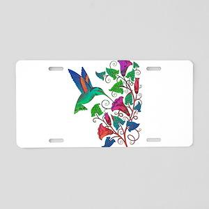 Rainbow Hummingbird on Trum Aluminum License Plate