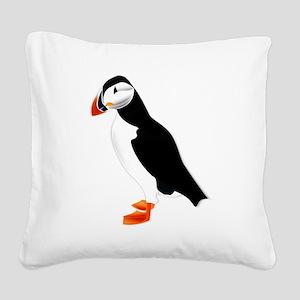 Pretty Puffin Square Canvas Pillow