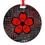 Red and Black Flower Ornament