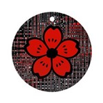 Red and Black Flower Ornament (Round)