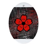 Red and Black Flower Ornament (Oval)