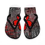 Red and Black Flower Flip Flops