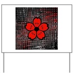 Red and Black Flower Yard Sign