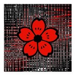 Red and Black Flower Square Car Magnet 3