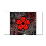 Red and Black Flower Rectangle Car Magnet