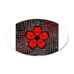 Red and Black Flower Oval Car Magnet