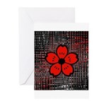 Red and Black Flower Greeting Cards