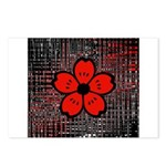 Red and Black Flower Postcards (Package of 8)
