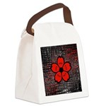 Red and Black Flower Canvas Lunch Bag