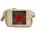 Red and Black Flower Messenger Bag