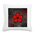 Red and Black Flower Square Canvas Pillow