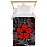 Red and Black Flower Twin Duvet