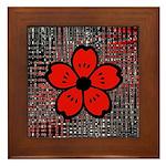 Red and Black Flower Framed Tile