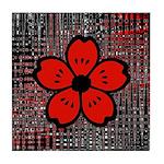 Red and Black Flower Tile Coaster