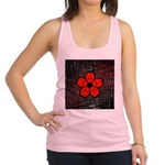 Red and Black Flower Racerback Tank Top