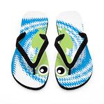 Frog on Blue Swirl Flip Flops